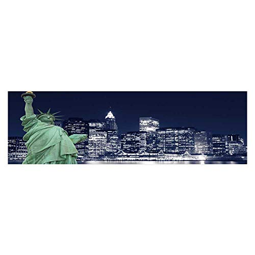 Dragonhome Fish Tank Decorations The Statue of Liberty and Manhattan Skyline at Night New York City HD Fish Tank Decorations Sticker L35.4 x H19.6 ()