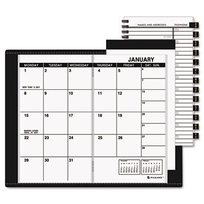 AT-A-GLANCE 70-064-05 13-Month Planner for 2009, Refillable, Unruled, 1 Month/Spread, 3-1/2 x 6-1/8, Black