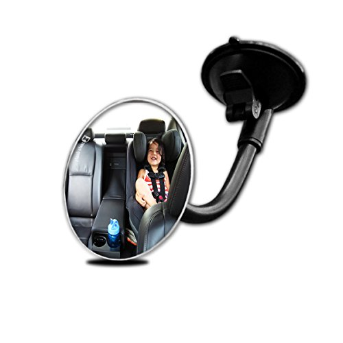 Zento Deals Adjustable Blind Spot Round Convex Mirror With Suction Cup and Flexible Arm- Traffic and Baby Back Viewer (Cup Adjustable Suction)