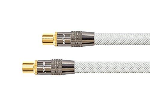 PYTHON® Series PREMIUM TV Antennenkabel - IEC / Koax Stecker an Buchse, vergoldet - RG6 Koaxialkabel mit 4-fach Schirmung, Abschirmmaß 120 dB / 75 Ohm – geeignet für DVB-T2, DVB-T, DVB-S, DVB-C, Radio - Vollmetallstecker, Kupferleiter (OFC), hochwertiges Nylongeflecht - weiß, 1,5 m