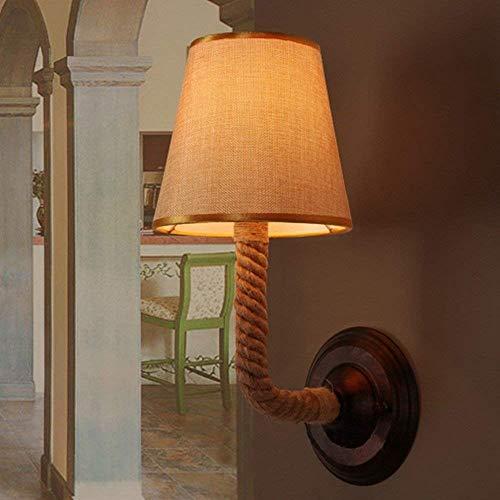 Ladiqi Bedroom Wall Sconce Lighting Fixture Vintage Rustic Hemp Rope Wall Lamp Lights Indoor Outdoor by Ladiqi (Image #7)