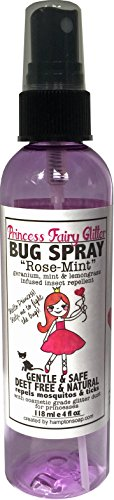 Princess Fairy Glitter Bug Spray Natural Mosquito and Tick Repellent with Geranium and Mint