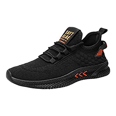AUCDK Men Casual Sport Shoes Simple Style Solid Color Trainers with Knit Mesh Upper Athletic Running Traving Shoes 7.5US Black and Orange