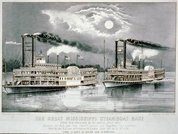Lithograph The great Mississippi steamboat race from New Orleans to St. Louis, July 1870