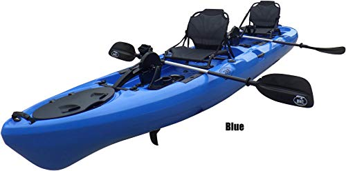 BKC PK14 14' Tandem Sit On Top Pedal Drive Kayak W/ Rudder System, 2 Paddles and Seats , 2 Person Foot Operated Kayak ()