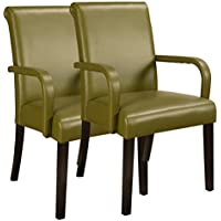 Kings Brand Furniture Accent Parson Chairs with Arms & Solid Wood Legs (Set of 2), Green