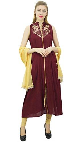 Atasi Ethnic bestickt Beige Frauen Dupatta Set Indian und Dunkelrot mit Rayon Anzug BqxrItpBw