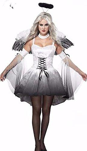 Womens Off White Fallen Angel Hen Night Halloween Fancy Dress