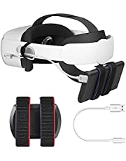 Esimen Power Bank Battery Strap for Oculus Quest 2 Head Elite Strap, Portable Charger Holder Organizer Compatible Multiple Sizes Battery Pack with 1.5ft/0.5m Charging Cabled(Black)