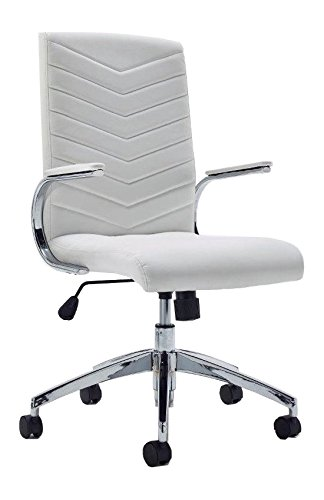 Baresi White Office Chair With White Padded Armrests And Chrome Base For  The Office Or Home