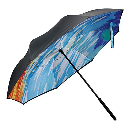 FUNTRESS Windproof Umbrella Compact For Woman,UV Protection Car Umbrella ,Big Stick Upside Down Umbrella with Double Layer Canopy(Oil Painting)