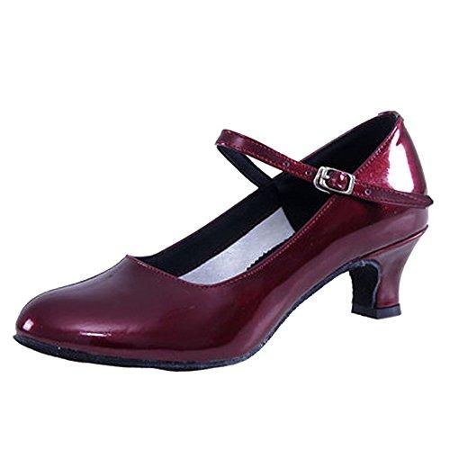 BOZEVON Mujer Color Puro Cabeza Redonda Closed Toe Zapatos de Baile Latinos de Tacones Rojo Oscuro
