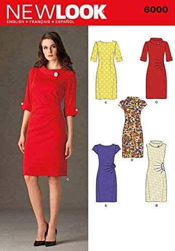 2b520f86dc Amazon.com: New Look Sewing Pattern 6000 Misses' Dresses, Size A  (4-6-8-10-12-14-16): Arts, Crafts & Sewing
