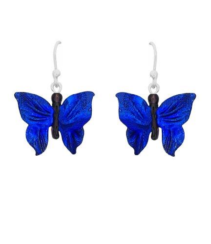 Sterling Silver Dichroic Glass Blue Butterfly Lampwork Earrings