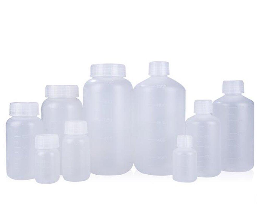 2 botellas translúcidas de plástico recargables de calidad de laboratorio con cierres de tornillo y escala en la botella para contenedor químico reactivo, ...