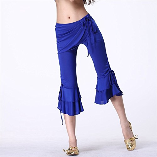 Mujeres Danza del vientre Hip Scarf Pant Dancewear Dance Clothes Cropped Trousers Side Slit Dark Blue