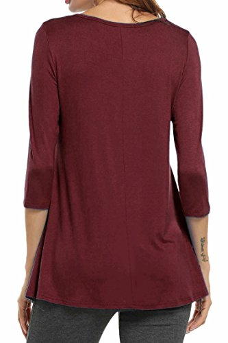 Ufficio Donna Per 3 Camicia Camicetta shirt 4 Blusa T Manica Red Wine Casual Hotouch Sexy Elegante zwgOq