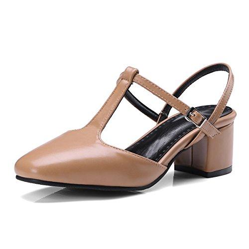 de Sécurité Arrière de Talons a Moyens Ceinture Femmes souligné Chaussures Sandales Boucle Romain Fashion Baotou Apricot la xRYvwfzq