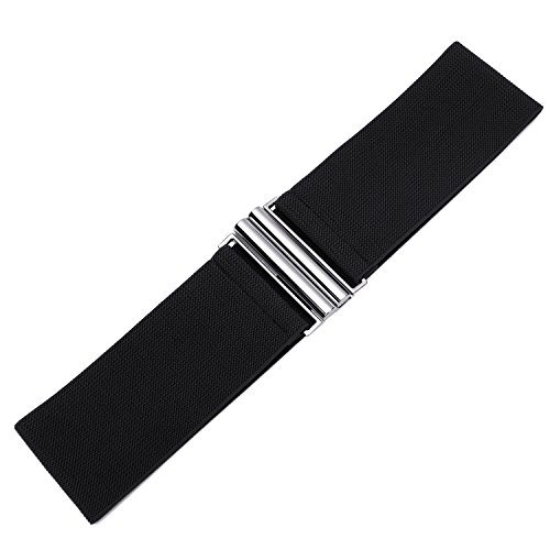 "Syuer Womens Wide Elastic Waist Belt Cinch Belt Trimmer Stretch Waistband (L-XL (30""-36""), Black (Silver Buckle))"