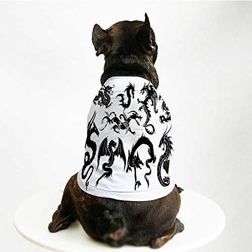 (YOLIYANA Japanese Dragon Warm Pet Suit,Monochrome Style Cultural Oriental Creatures Fantastic Ancient Collection for Pet Dogs,L )