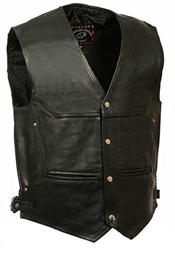 Milwaukee Men's Deep Pocket Leather Vest (Black, 5X-Large)