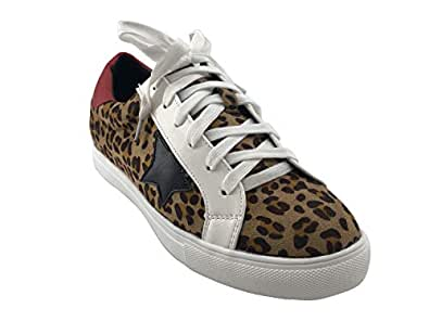 PARTY Women Casual Star Lace up Low Top Fashion Sneakers-Half Size Small, Dale-Leopard-5.5