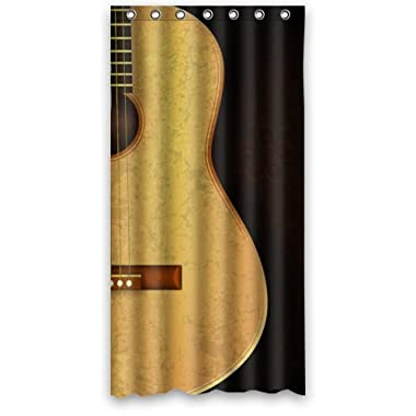 Cool Music Time Elegant Guitar In Dark Flowers Background Shower Curtain (Shower Rings Included) 36 x72  (Small) New Waterproof Polyester Fabric Curtain