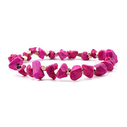 - SUPERON Elastic Irregular Natural Gem Strand Bracelets Women Handmade Quartz Howlite Coral Chic Stretch Chip Bracelet(Adjustable,Hot Pink)