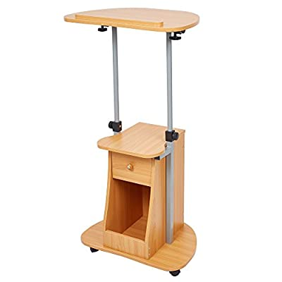 LUCKYERMORE Sit-to-Stand Laptop Cart on Wheels with Tilt Top Height Adjustable Rolling Desk Podium Stand with Storage Shelf Lectern Mobile Workstation