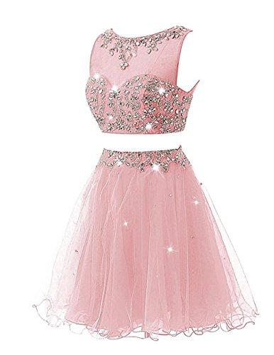 Deux Pièces Cristal Robes De Bal À Court Bal 2015 Blush Des Femmes De Mariée Annie