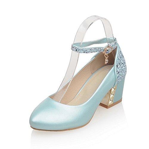 Balamasa Damer Kattunge Klackar Pekade Tå Komfort Mjuka Material Pumpar-skor Blå