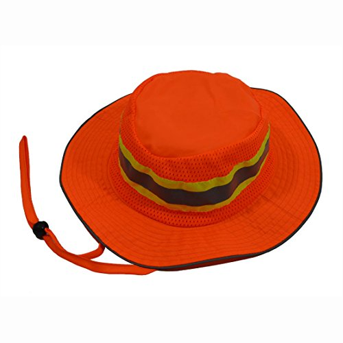 Petra Roc ORH-FB-S/M High Vis Ranger Style Full Brimmed Hats, Orange with Lime Contrast Binding & 1
