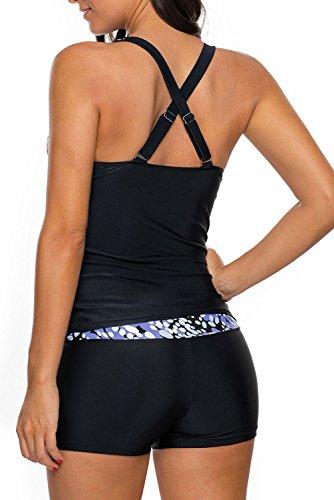 Nuovo blu bianco macchie croce cinghia posteriore 2PCS Tankini set bikini bikini Swimwear estivo, taglia UK 8EU 36