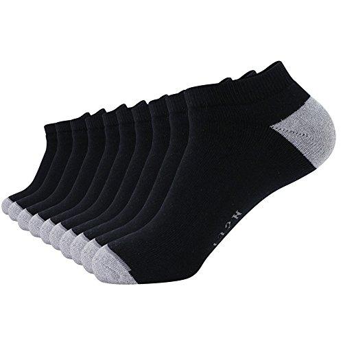 10 Pack Men's Cotton No Show Socks Extra Heavy Black Cushion Invisible Socks (10-13/Shoe:6-12, (Show Cushion Socks)