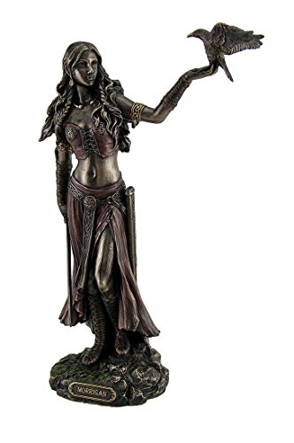 Sword Statue (Resin Statues Morrigan The Celtic Goddess Of Battle W/Crow & Sword Bronze Finish Statue 6.5 X 10.25 X 3 Inches Bronze)