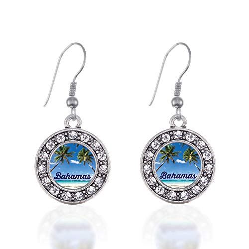 Inspired Silver - Bahamas Charm Earrings for Women - Silver Circle Charm French Hook Drop Earrings with Cubic Zirconia Jewelry