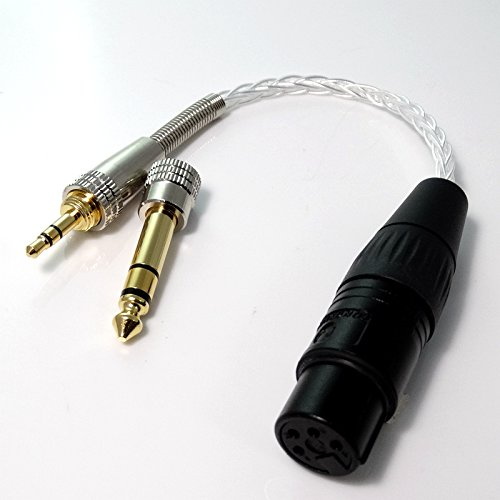 3.5mm Male Stereo to 4-pin XLR Female Balanced Audio Adapter Hi-end Pcocc Silver Plated Cable