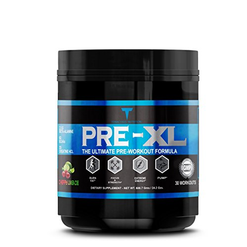 PRE-XL All In One Fat Burning Pre Workout Supplement with BCAAs, Creatine, Sustained Energy, Strength Boosters and More, 30 INSANE WORKOUTS, Cherry Limeade
