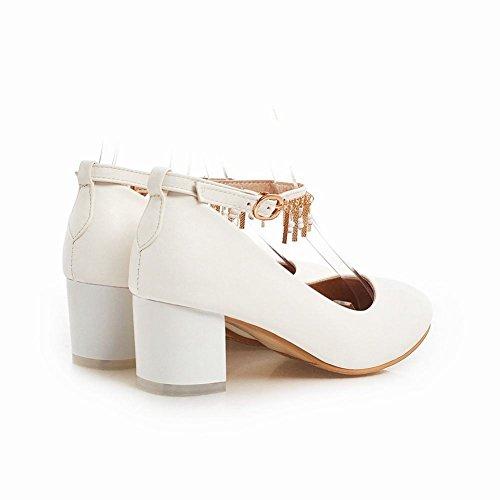 Latasa Kvinna Mode Ankel-rem Chunky Mid Häl Pumpar Skor Off-white
