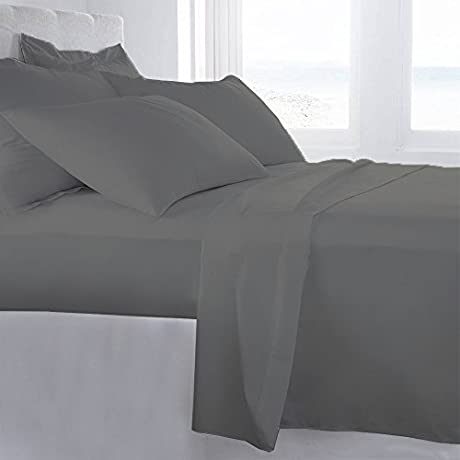Lussona Collection 1200 Thread Count 200 GSM 100 Egyptian Cotton Quality 5 Piece Comforter Includes 1 PC Comfoter 4 PCs Sheet Set 15 Deep Pocket Cal King Silver Grey