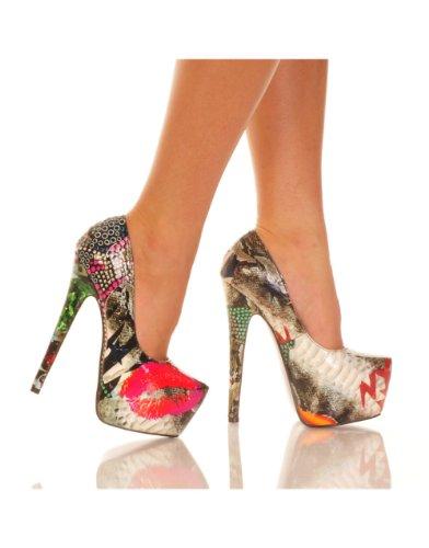 "THE HIGHEST HEEL MARQUIS-11 Women's 6"" Heel Covered Platform Pump Sexy Heels, Color:Snake Lip Print, Size:6"