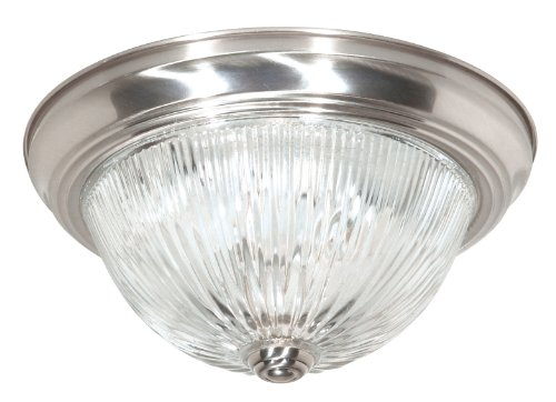 Nuvo Lighting SF76/611 Three Light Flush Mount, Brushed Nickel/Clear Ribbed Glass