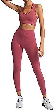 AGUTIUN Workout Yoga Outfits for Women 2 Piece Set Gym Seamless High Waisted Leggings with Sports Bras Tracksu