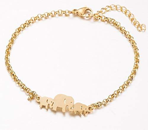 Mom and Babies Elephant Bracelet Luxury Defined Yellow Gold