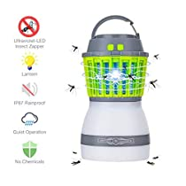 Electric Mosquito Killer Lamp ,SGODDE Fly Pest Bug Insect Control Mosquitoes Light , Waterproof Zapper Killer Lamp with 2200mAh Rechargeable Battery, Removable Lampshade,Ideal for Home and Outdoor Activities.