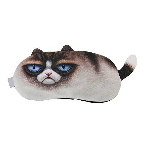 ACTLATI Cute Animal Sleeping Eye Mask Cartoon Animal Sleep Blindfold Cotton Soft Cooling Eyeshade for Travel Home Office Rest Unpleasant Face Cat