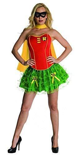 Ladies Batgirl Supergirl Wonder Woman Robin Super Hero Corset Tutu Halloween Hen Do Fancy Dress Costume Outfit 6-18 (UK 12-14, Robin) ()
