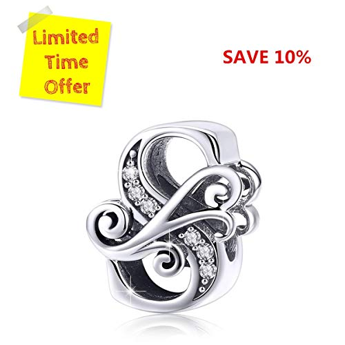 BAMOER 925 Sterling Silver Initial Letter S Charms for Snake Chain Bracelet Necklace Alphabet Beads