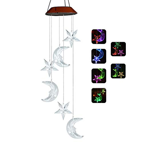 Sunklly LED Solar Moon and Stars Wind Chimes Outdoor - Waterproof LED Changing Light Color Wind Chime, Six Moon and Stars Wind Chimes for Home, Party, Night Garden Decoration
