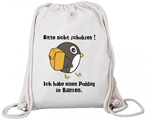 ShirtStreet Premium Bio Baumwoll Turnbeutel Rucksack Stanley Stella Pinguin - Bitte nicht schubsen Natural 4bO01San